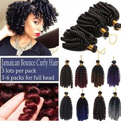 US Elailite Store Curly Jamaican Bounce Jumpy Wand Hair Braid Pre-looped  Spring Curl Braiding Hairpiece Synthetic Twist Hair Medium Brown | R |