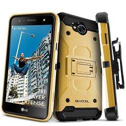 LG X Power 2 LG X Charge lg Fiesta 2 LG Fiesta LTE Case Evocel Trio Pro Series Textured Body Multiple Layers Kickstand