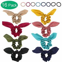 SATIN Silk Scrunchies For Hair West Bay 8PCS Hair Scrunchies With Bow 8PCS Hair Elastic Ties For Women Girl Chiffon Cute Bunny E