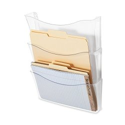 Sanford Rubbermaid Unbreakable Expandable Three-pocket Wall File Set Clear 65976