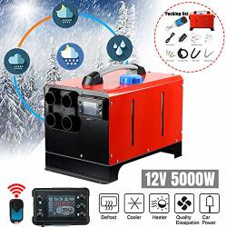 12V 5KW Diesel Air Heater Diesel Parking Heater Muffler Automotive Diesel Air Conditioning Heater With Lcd Thermostat Monitor For Rv Snow Plow