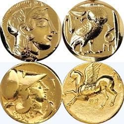 USA Golden Artifacts Percy Jackson Teen Gift Athena owl pegasus 2 Greek Coins Of Athena Unique Gift Greek Mythology PJ2+12-G