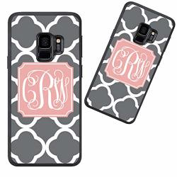 Customized Phone Case For Samsung Galaxy S9 Plus White Grey Quatrefoil Pattern Personalized For Samsung Galaxy S9 Plus