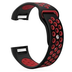 Silicone Band For Fitbit Charge 2 - Black & Red Size: S-m