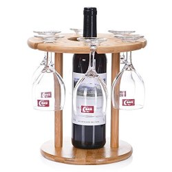 Wqwl Portable And Detachable 100 Natural Bamboo Table Top Wine Rack