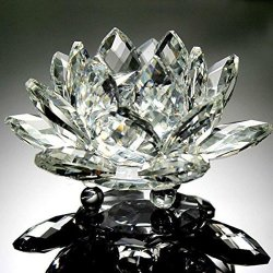 Wenjuan Lotus Crystal Glass Figure Paperweight Ornament Feng Shui Decor Collection A