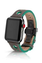 JUUK Design 42 44MM Juuk Monza Onyx Premium Watch Band Made For The Apple Watch Made With Genuine Italian Leather With A Solid Stainless Steel Deployant Buckle