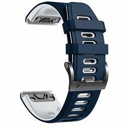 Notocity Compatible With Fenix 6 Pro Watch Band For Fenix 6 FENIX 6 Pro fenix 5 FENIX 5 Plus forerunner 935 FORERUNNER 945 APPROACH S60 QUATIX 5 Dark Blue-white