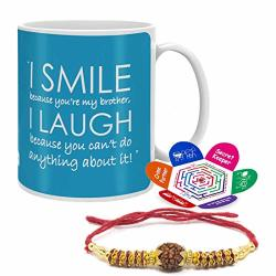 Indigifts Raksha Bandhan Gift For Brother Big Brother Quote Blue Set Of Coffee Mug 11OZ Rakhi And Greeting Card - Gift For Brother From