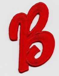 """Letters - Red Script 2"""" Letter """"b"""" - Iron On Embroidered Applique Diy Article Of Clothing"""