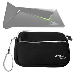 DURAGADGET Black Water Resistant Neoprene Travel Case With Front Zip Compartment For The New Nvidia Shield Android Tv