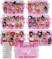 HOME4 Bpa Free Stackable Storage Container Organizer Carrying Display Case 6 Layers 60 Adjustable Compartments Perfect For Small Toys Dolls Not Included Bonus Sticker Pink Glitter Large
