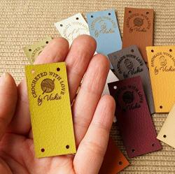 Faux Leather Labels For Handmade Items Vegan Leather Tags Personalized Crochet Labels Custom Knitting Labels Sewing Labels Crochet Tags Various Sizes Shapes Images To