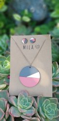 Mila Pink & Grey Circle Necklace & Earrings - Nationwide Shipping Included