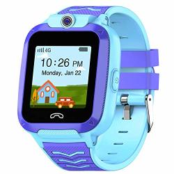 Uoto 4G Kids Smartwatch Phone Wifi Lbs Gps Tracker Watch Waterproof For Boys Girls With Pedometer remote MONITORING FACETALK 2-WAY Call sos Kids Christmas Birthday Gift BLUE-Q51