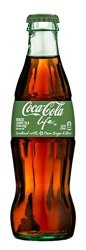 COKE Life Reduced Calorie Coca Cola With Stevia 8 Oz Glass Bottles - Case Of 24