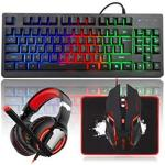 Mftek Rgb Rainbow Backlit Gaming Keyboard And Mouse Combo LED PC Gaming Headset With Microphone Large Mouse Pad Small Compact 87