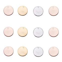 PH PandaHall Pandahall Elite 60 Pcs 304 Stainless Steel Flat Round Blank Stamping Tag Pendants Charms Diameter 15MM Jewelry Maki