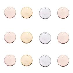 PH PandaHall Pandahall Elite 60 Pcs 304 Stainless Steel Flat Round Blank Stamping Tag Pendants Charms Diameter 15MM Jewelry Making 3 Colors