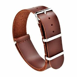 Nato Skull 20MM Brown Leather Nato Strap With Polished Stainless Steel Buckles