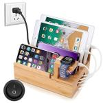 Inkotimes Charging Station With 5-PORT USB Charger Bamboo Charging Station For Multiple Devices Of Apple Iwatch Iphone Ipad Sams