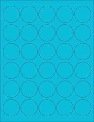 "8-1 2 X 11"" Neon Color High Light Fluorescent Labels For Laser & Inkjet Printer Blue Fluorescent 1"" Round - 63 Per Page - 6300 Labels"