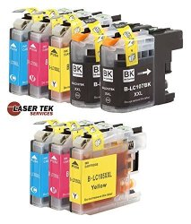 Laser Tek Services Compatible Ink Cartridge Replacement For High Yield Brother LC107 LC105 LC107BK LC105C LC105M LC105Y Black Cyan Magenta Yellow 8-PACK