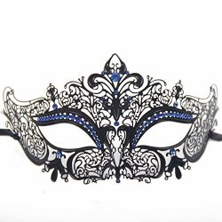 Signstek Glossy Metal Filigree Phantom Half Eye Mask For Venetian Masquerade Black blue Stones