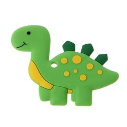 Tebatu Baby Teether Silicone Chew Toys Dinosaur Baby Teethers Pendant Necklace Accessory 10X7.7CM