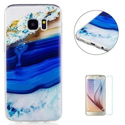 CaseHome Samsung Galaxy S7 Edge Silicone Gel Case Clear + Free Screen Protector Kasehom Premium Rubber Shockproof Protective Cov