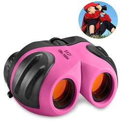 DIMY Toys For 3-12 Year Old Girls Compact Watreproof Binocular For Kids Gifts For Teen Girl Birthday Presents Pink DL10