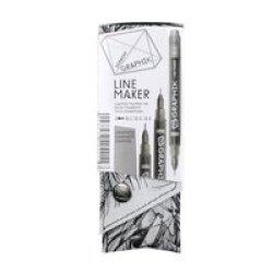 Derwent Graphik Line Maker Pens - Graphite - Set Of 3