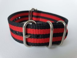 NATO 20MM Watch Strap 5-RING Black red