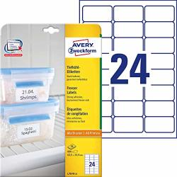 Avery Zweckform L7970-25 Deep Freezer Labels 63.5 X 33.9 Mm 25 Sheets 600 Labels White