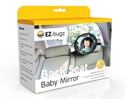 EZ-Bugz Baby Car Mirror For Rear Facing Child Seats Big And Clear Rear View Of Your Newborn Infant In The Back Fits To Seat Headrest