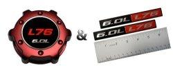 VMS Racing Combo Red L76 6.0L Oil Cap In Billet Aluminum + Pack Of 2 Red Black 6.0L Liter L76 Real Aluminum Engine Hood
