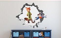 DecorLab Zootopia Nick Wilde Judy Hopps Boycott Wall Decal Smashed 3D Sticker Vinyl Decor Mural Kids Movie - Broken Wall - 3D Designs - OP507