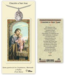 Pewter San Jose Medal With Laminated Holy Prayer Card