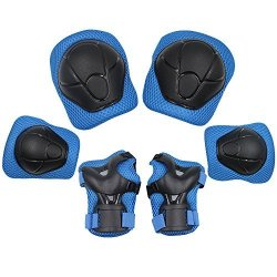 Kuyou Kid's Protective Gear Set Roller Skating Skateboard Bmx Scooter Cycling Protective Gear Pads Knee Pads+elbow Pads+wrist Pads Blue