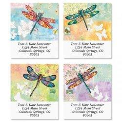 "Vibrant Dragonflies Square Return Address Labels 4 Designs - Set Of 144 1-1 2"" X 1-3 4"" Self-adhesive Flat-sheet Labels"