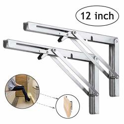 Folding Shelf Brackets 12 Inch Heavy Duty Stainless Steel Collapsible Wall Mounted Shelf For Diy Bracket Folding Bench Work Table Space Saving Max Load