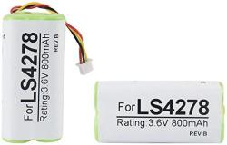 Partshe 2-PACK Battery For Motorola Symbol LS4278 LS4278-M LI4278 DS6878 Barcode Scanner 800MAH 3.6V Ni-mh Pn 82-67705-01 BTRY-LS42RAAOE-01