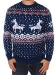 Ugly Christmas Sweater Men's - Reindeer Climax Tacky Christmas Sweater Blue Size XL