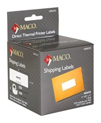 Chartpak Inc. Maco Direct Thermal Printer White Shipping Labels 2-1 8 X 4 Inches 220 Per Roll 1 Roll M86202
