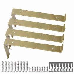 SHELF Brackets 12 Inch Z Brackets 4PCS Gold Wall Bracket With Lip For Shelves Rustic Iron Metal Bracket For Diy Open Shelving Fit