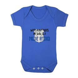 WATCH Out Boys My Dad Is Police Officer Baby Bodysuit One Piece Royal Blue 18 Months