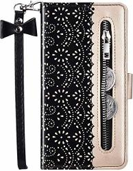 Ikasefu Compatible With Samsung Galaxy J7 2016 Case Lace Pu Leather Wallet Zipper Purse Strap Card Slots Card Holder Shockproof Magnetic Stand Feature Folio