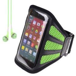 Sumaclife Mesh Workout Armband Case For Motorola Moto X Moto G Google Neuxs 5 Blackberry Z 10 Z30 Green + Green Vangoddy Headphones