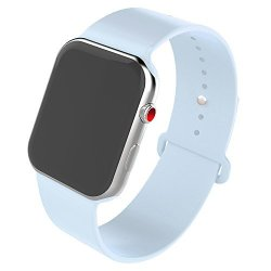 2a963593096f76 QIFIT Qiengo For Apple Watch Band 38MM Soft Silicone Sports Replacement  Strap For Iwatch Series 3 Series 2 Series 1 Edition Nike+ Hermes 38MM-SM  Sky Blue