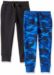 Spotted Zebra Little Boys' 2-PACK Fleece Jogger Pants Blue Camo black Small 6-7